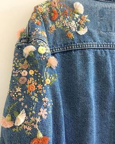 DIY Clothes Jacket etsy - Embroidery Jeans Jacket Etsy 69 Ideas For 2019 Embroidery On Clothes, Embroidered Clothes, Denim Jacket Embroidery, Etsy Embroidery, Diy Embroidered Jacket, Jean Embroidery, Embroidery Letters, Embroidery Fashion, Embroidered Flowers