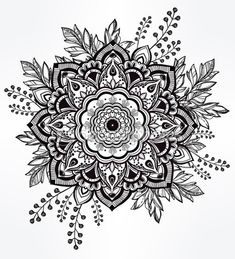 Hand drawn ornate flower in the crown of leaves. — Vector de stock