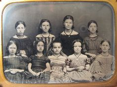 Antique American Beauty Ambrotype 9 Schoolgirls Pre Civil War Era Photo