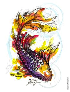 """Waterfishcolours"" #illustration #watercolours #fish #art"