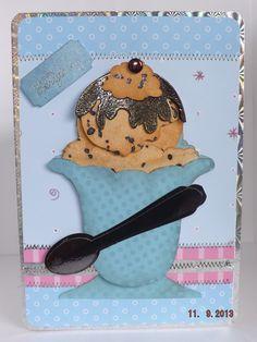 My scrap chick. Double choc chip ice cream sundae card