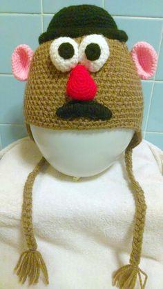Crochet Mr. Potato Head earflap hat. Created from scratch by me - sblowe.