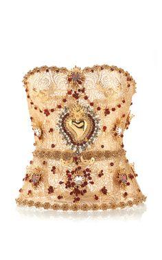 Golden Filigree Bustier With Allover Embellishment by Dolce & Gabbana for Preorder on Moda Operandi