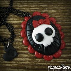 Polymer Clay Skull Cameo Necklace by rapscalliondesign on Etsy, $18.48
