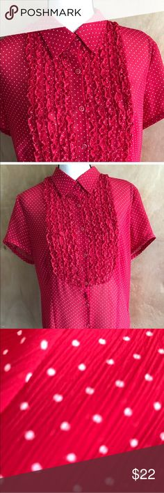 """~Red~ Emma James Polka Dot Top White polka dots! Something old is new again. Button down. Short sleeves about 7"""" long and 7"""" wide at sleeve hem. Long 29.5 length with side slits. Frilly bib of ruffles. Sheer dotted Swiss crinkle fabric. Bust is approximately 22"""" and Waist is about 19.5 inches.  Thanks for darting around my closet! ✨💜 Emma James Tops"""