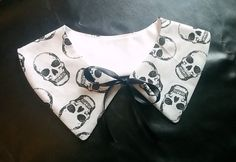 White Wednesday Addams Collar with Skulls by GraveEndeavours