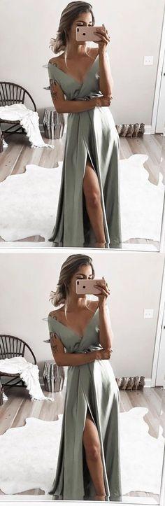 elegant off shoulder formal evening dresses, chic split prom gowns for special occasion M3092