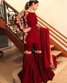 66 new Ideas for indian bridal suits style Sharara Designs, Indian Designer Outfits, Indian Outfits, Designer Dresses, Red Lehenga, Anarkali, Lehenga Choli, Pakistani Sharara, Bridal Lehenga
