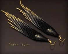 "6"" Black Seed Bead Earrings~Long Bohemian Beaded~Black Gold Native American Style~Glamorous BOHO Earrings~Long Glam Fringe~Bohemian Festive"