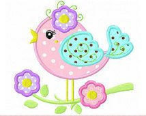 Spring little Bird Machine Embroidery Applique Design - for and hoop Bird Applique, Applique Embroidery Designs, Machine Embroidery Applique, Applique Patterns, Applique Quilts, Quilt Patterns, Applique Ideas, Flower Bird, Sewing Appliques