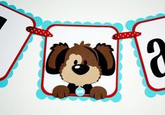 Puppy I am 1 Banner / Puppy Birthday Banner / by ALittlePaperHouse