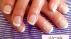 Calgel Natural Nail Overlays with Swarowski Crystals on Ring Fingers