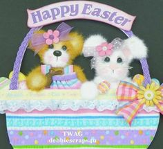 TWAG*DEBBIE*EASTER BABY GIRL TEAR BEAR PAPER PIECE PREMADE PAGES CARD ALBUM