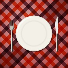 Menu Design Checkered Tablecloth Background with Fork and Knife