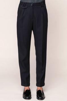 Pantalon texturé à pinces marine Mansfield - Sessun