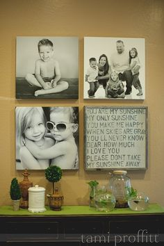 Great idea..... 4 squares, 3 photos, 1 quote.  Perfect for a canvas wraps or float mounts