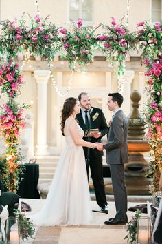 Pink Rose and Delphinium Wedding Arch