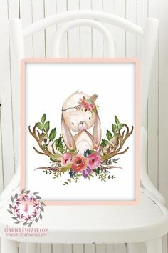 Fox Woodland Boho Printable Print Wall Art Baby Nursery Feather Antlers Watercolor Bohemian Floral Girl Room Décor by Pink Forest Cafe Welcome to Pink Forest Café! Your one stop shop for all things printable! Wall Art, Stationery, Invitations and Announcements, Party Signs, Home and Nursery Décor and more! Sold in a set of 6 in this shop now, save big and buy the set! This listing is for 1 printable 8x10 file*. Your file will be full resolution 300 dpi jpgs and can be printed by you, sent…