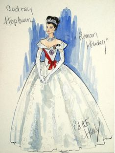 Costume sketch by Edith Head for Audrey Hepburn in 'Roman Holiday', 1953.