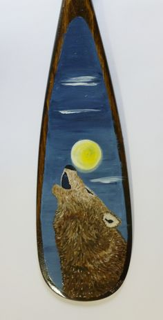 "24"" hand painted canoe paddle:  howling wolf Wolf Howling, Canoe, Paddle, Hand Painted, Painting, Art, Art Background, Painting Art, Kunst"