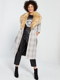Shop at Ireland's largest online department store for all of the latest fashion, gadgets and homewear with FREE delivery and FREE returns on your orders. Duster Coat, Fur Coat, Faux Fur Collar, Winter Wonderland, River Island, Winter Fashion, Layers, Brown, Check