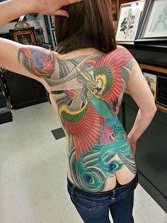 phoenix back piece tattoo by Adam Sky, Rose Gold's Tattoo, San Francisco