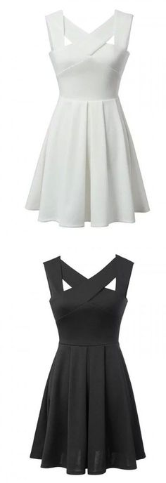 White & Black Cut Out Cross Sleeveless Skater Dress Imagine each part of strap a different color. Some dresses basics, neons, dark, brights Skater Dresses Semi Dresses, White Skater Dresses, Hoco Dresses, Homecoming Dresses, Dress Outfits, Casual Dresses, Cute Dresses For Teens, Mode Sombre, Promotion Dresses