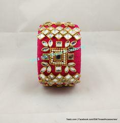 Yaalz Kundan Stone Jumbo Kada In Pinkish Red Color !! Price Rs.750 Per Pair For Orders Ping Us In WhatsApp +91 8754032250