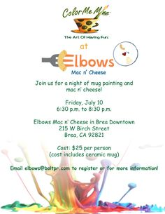 Attend Color Me Mine and Elbows Mac n' Cheese on Friday, July 10 in Brea for a family night of painting and mac 'n cheese!  Food and art always go hand in hand!