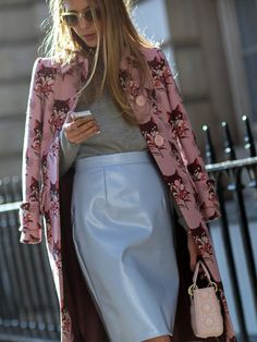 A baby blue leather pencil skirt and cat-printed coat make a sassy statement // Photo: The Styleograph #LFW #streetstyle