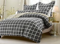 5pc Black and White Plaid Duvet Cover Set  Cherry Hill Collection #CherryHillCollection #Modern
