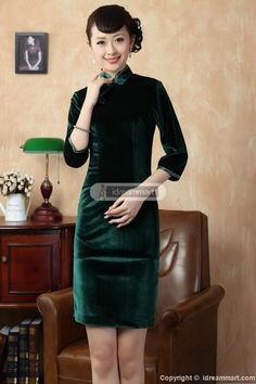 Women's Green Velvet 3 Quarters Sleeve Mini Chinese Dress Fashion Cheongsam - iDreamMart.com