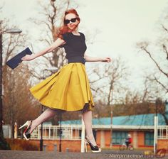 ASOS skirt & Christian Louboutin slingbacks- Love the hair colour and the whole combination in general!