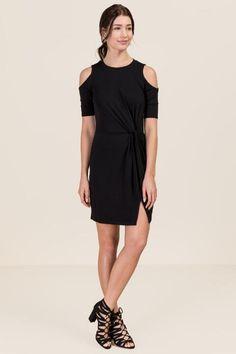 Lily Cold Shoulder Knit Dress- Black model