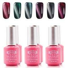 Perfect Summer Gel Nail Polish Colors 3D Magnetic Charming Shiny Cat Eye Effect UVLED Light Soak Off Nail Lacquers  Pack of 6 8ml Each Set 06 *** Be sure to check out this awesome product.Note:It is affiliate link to Amazon.