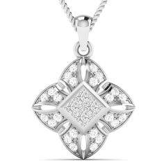 0.39 Carat Natural Diamond Vintage Cluster Pendant Necklace Chain 14k White Gold #Vijisan #Pendant #ChristmasMemoriaBlackFridayDayValentineDay