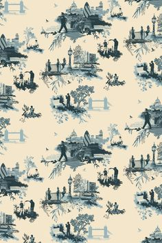 Modern Takes On Traditional French Toile. Modern Takes On Traditional French Toile. -Read More – Chinoiserie, Toile Wallpaper, Bathroom Wallpaper, Timorous Beasties, Shabby Chic Bedrooms, Interior Design Tips, Design Ideas, Design Styles, Silhouettes