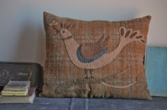 Fraktur Style Pillow in Brown, $69.00