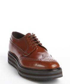 Prada cognac leather stripe sole oxfords