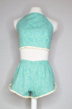 SARAH SET - AQUA CRUSH (LACE TRIM) Eyelet Lace, Lace Trim, Halter Crop Top, Princess Seam, White Trim, High Waisted Shorts, Aqua, Dreams, Fashion Outfits