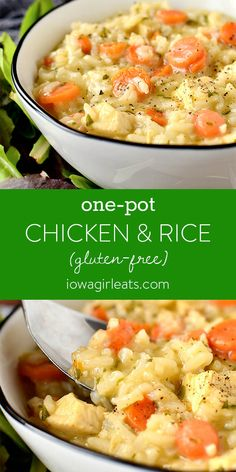 One-Pot Chicken and Rice (Video) - Gluten Free Dinner Recipe One-Pot Chicken and Rice is part soup, part risotto, and wholly comforting. Your family will ask for this easy yet irresistable gluten free dinner recipe again and again. Gluten Free Recipes For Dinner, Gluten Free Rice, Dinner Recipes With Rice, Good Easy Dinner Recipes, Gluten Free Chicken Casserole, Gluten Free Soups, Gluten Free Lunches, Easy Dinner For Two, Easy Gluten Free Recipes