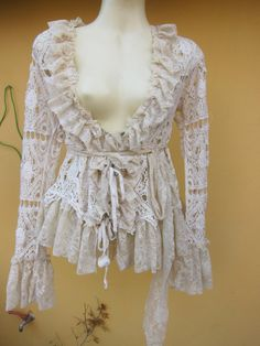 vintage inspired soft cotton jacket with ruffles of by wildskin, $45.00
