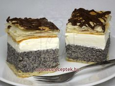 Mákos krémes Hungarian Desserts, Hungarian Recipes, Russian Recipes, Low Carb Desserts, No Bake Desserts, Dessert Recipes, Cake Bars, Salty Snacks, Sweets Cake
