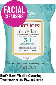 (This is an affiliate pin) Burt's Bees Micellar Cleansing Towelettessex 30 Piece Towelettes, 30 Count Makeup Remover Wipes, Facial Cleansers, Burts Bees, Count, How To Remove