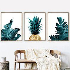 Gold Pineapple Palm Leaf Wall Art Set of 3 Botanical Print Living Room Kitchen, Home Decor Kitchen, Home Decor Bedroom, Living Room Decor, Diy Home Decor, Gold Kitchen, Bedroom Ideas, Kitchen Ideas, Country Kitchen