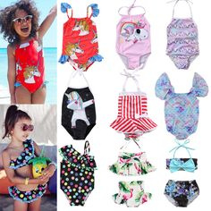 c42647a24cb Details about Fashion Kid Baby Girls Unicorn BIkini Swimwear Swimsuit  Bathing Suit Beachwear