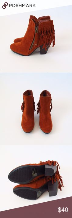 Faux suede fringe ankle booties Brand: Breckelles Size:8 Color: brown/orange  Faux suede  Tassel Side zipper Fringe  Ankle booties Round toe Heel height: about 3.25in  Shaft( with heel) about 7in Opening: 9in No Trade Breckelles Shoes Ankle Boots & Booties