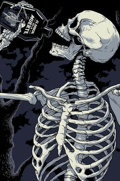 "Conceptual tequila packaging for ""El sabor de la muerte"" or the taste of death, a dark tequila for the day of the dead. I drew the illustration in a mixture of mexican skeleton imagery, the classic italian horror posters, and comics. Arte Horror, Horror Art, Mexican Skeleton, Skeleton Art, Skeleton Drawings, Skull Wallpaper, Dark Wallpaper, Nature Wallpaper, Art Pop"