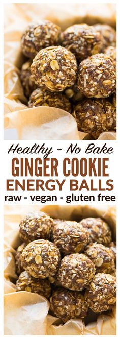 Healthy Energy Balls with oatmeal, almond butter, coconut, and flaxseed. Tastes like a ginger cookie! Easy, no bake recipe that's raw, vegan, high protein, and gluten free. Recipe at wellplated.com | @wellplated