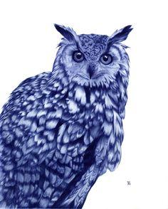 Owl by Sarah Esteje (awesome Ballpoint Pen Illustration) Biro Art, Ballpoint Pen Art, Ballpen Drawing, Stylo Art, Owl Illustration, Design Illustrations, Amazing Drawings, Amazing Art, Owl Art